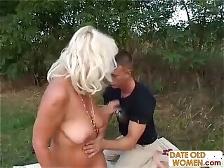 28:25 - Grandma fucks younger guy outdoors -