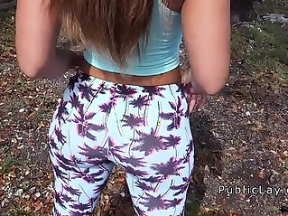 7:36 - Latina babe in legging shaking booty in public -