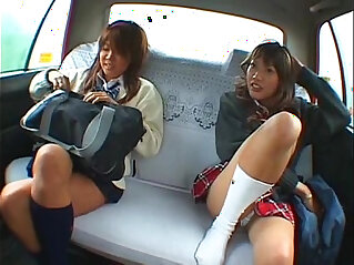 7:08 - Asian two schoolgirl and taxi driver making sex in the car -