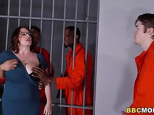 8:40 - Busty Mom Maggie Green Takes Two BBCs in a Jail -