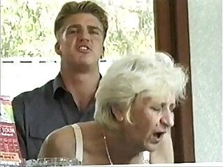 13:35 - Ficky Martin fucks a blonde hairy granny very hard on the hotel desk -