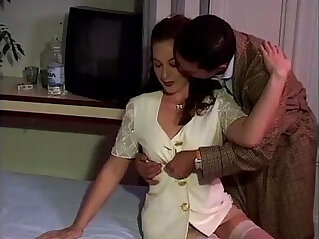 16:29 - Sexy brunette in white stockings banged by a guy -