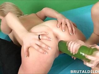 6:59 - Slim redhead Denisa Heaven fills slut with big dildos -