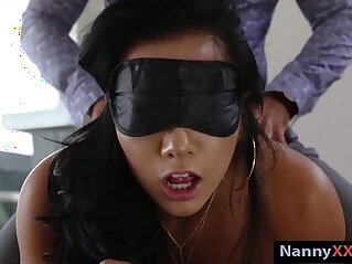 7:40 - Blindfold nanny Morgan Lee banged by her boss for extra cash -