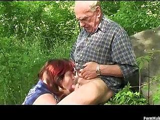 6:14 - Granny and Grandpa fuck outdoor -