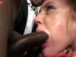 6:03 - Poor girl sucks members of the crowd of blacks and swallow thewallow their sperm -