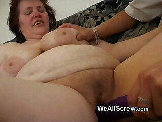6:58 - Younger guy dildos old womans ass and fucks her -