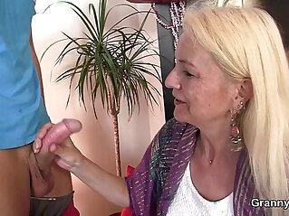 7:56 - Blonde skinny granny jumps on big meat -