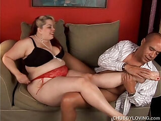 11:56 - Kinky blonde BBW in stockings gives sexy footjob -