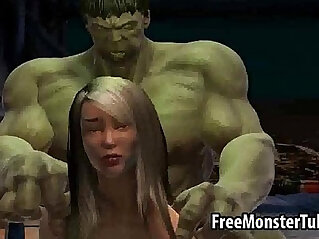 3:29 - Foxy 3D babe in stockings gets her face fucked by The Incredible Hulk high -