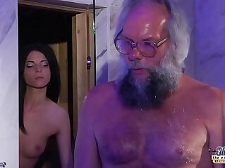 7:29 - Teen Sensual Cock Massage and Pussy fuck session with big dick grandpa super hot -