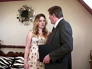6:59 - Teen girl gets facialed by an old man -