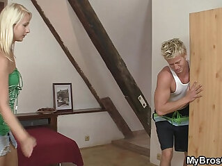 7:00 - Sweet blonde bros gf spreads her legs for him -
