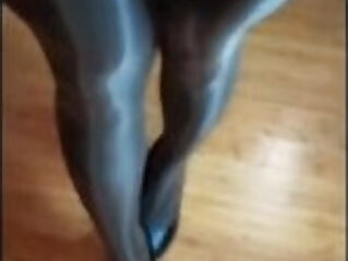 5:49 - Sexy long legs milf in shiny pantyhose teasing COMP -