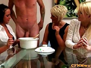 6:44 - Euro CFNM milfs collecting his cum -