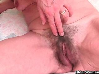 6:03 - English and skinny grandma gets finger treatment -