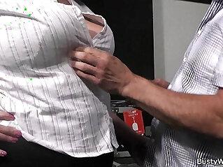 6:47 - Plumper in fishnets rides her older boss cock -