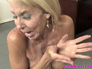 6:13 - Busty granny cumblasted by happy young dude -