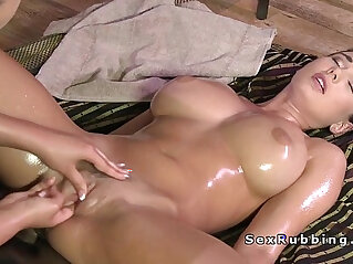 7:34 - Huge round tits brunette lesbo getting erotic massage -