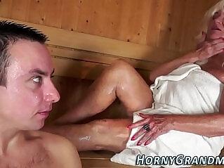 6:59 - Jizz mouthed granny sauna -