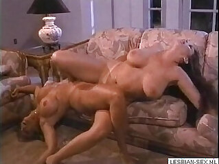8:34 - Blonde and brunette and blonde lesbians suck and rub pussies together on More -