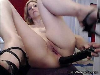 5:40 - Blonde MILF toys her ass on webcam -