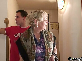 6:48 - Busty granny is picked up by young stud -