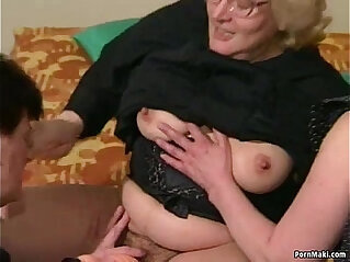 8:13 - Hairy Granny gets dildoed before fucks her ass with young guy -