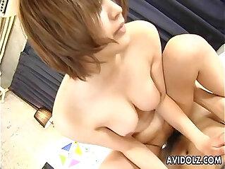 5:55 - Hairy Reimi Fujikura riding cock like mad -