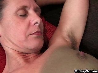 7:13 - Granny Inge gets her pussy fingered up her full bushed pussy -