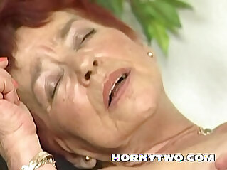 26:12 - Hairy granny takes a lot big dick in her red haired old wet pussy till cum -
