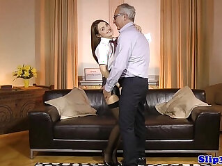 10:49 - European schoolgirl pleasures geriatric -