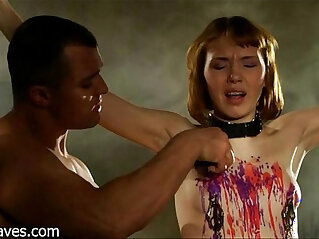4:08 - a beautiful Russian redhead teen with small tits being spanked and fucked -
