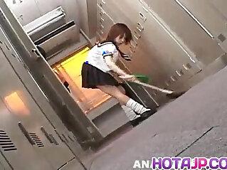 10:06 - Morimoto Miku in school uniform sucks and licks three penises -