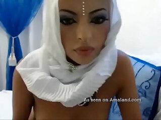 6:00 - Sexy Arab girl sucking her sex toy -
