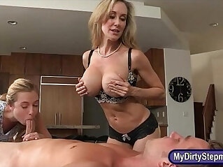 7:35 - Big titted stepmom nasty threeway action on massage table -