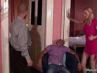 7:00 - Blonde girl caught cheating with older man -