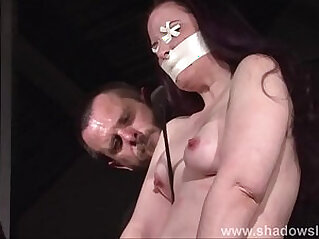 11:15 - Tit whipping and frontal spanking of slave Caroline Pierce in double domination -