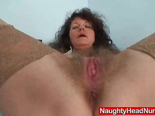 6:28 - Aged amateur mommy extremly hairy twat self exam -